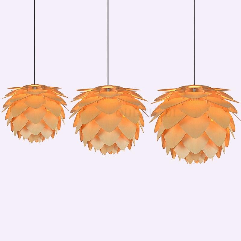 الحديث الشمال الفن خشبية Pinecone قلادة أضواء المنزل مطعم معلقة الخشب مصابيح متدلية إضاءة زينة المنزل تركيبات E27