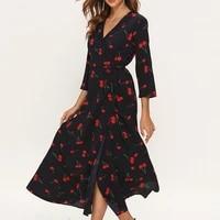 2021 new spring summer retro ladies vintage v neck cherry print high waist lace up three quarter frenulum sleeve dress