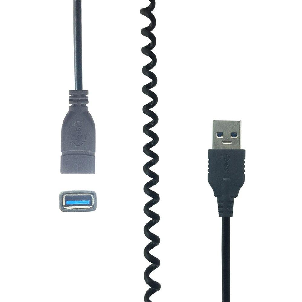Cable de extensión USB, Cable de supervelocidad USB 3,0, Cable de sincronización de datos USB macho a hembra, Cable de resorte extensor USB, Cable de ordenador de 1m