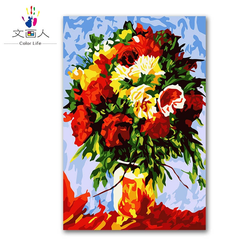 Planta florero colorido arreglo DIY pintura al óleo digital por números con kits en canvasa para niños Regalo de Cumpleaños de Navidad