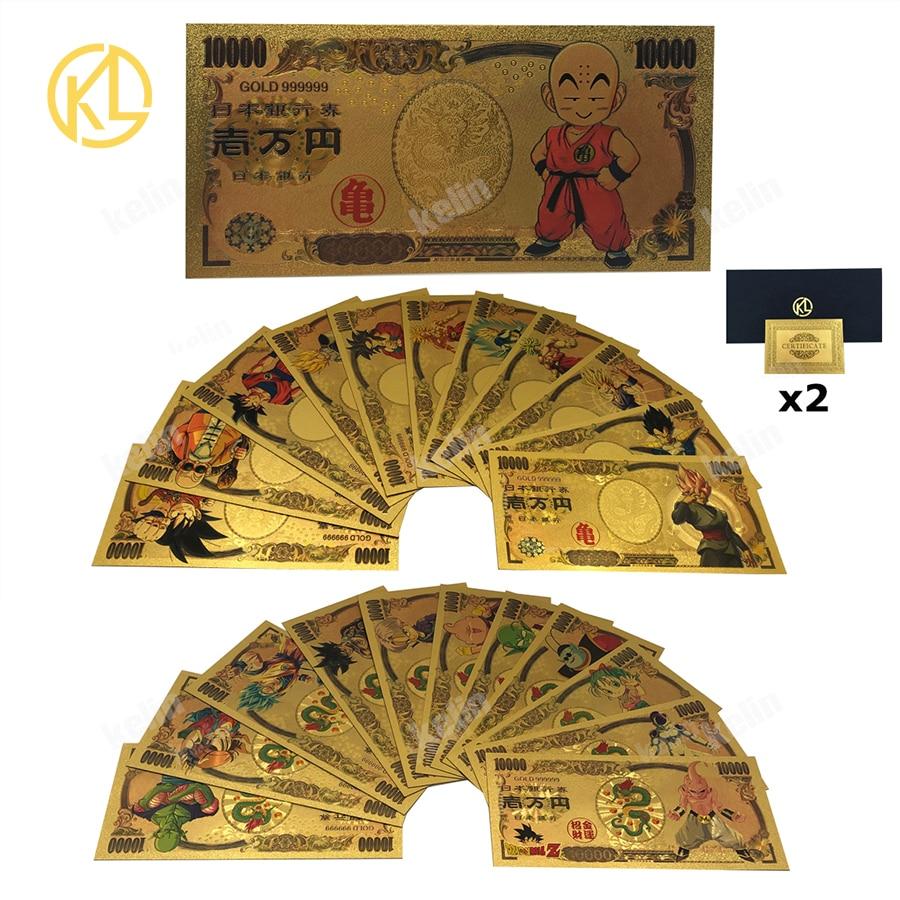 28 моделей японского аниме дракона DBZ-Son-Goku Vegeta-Broli-Buu 10000 иен набор золотых пластиковых банкнот для классических заметок детства