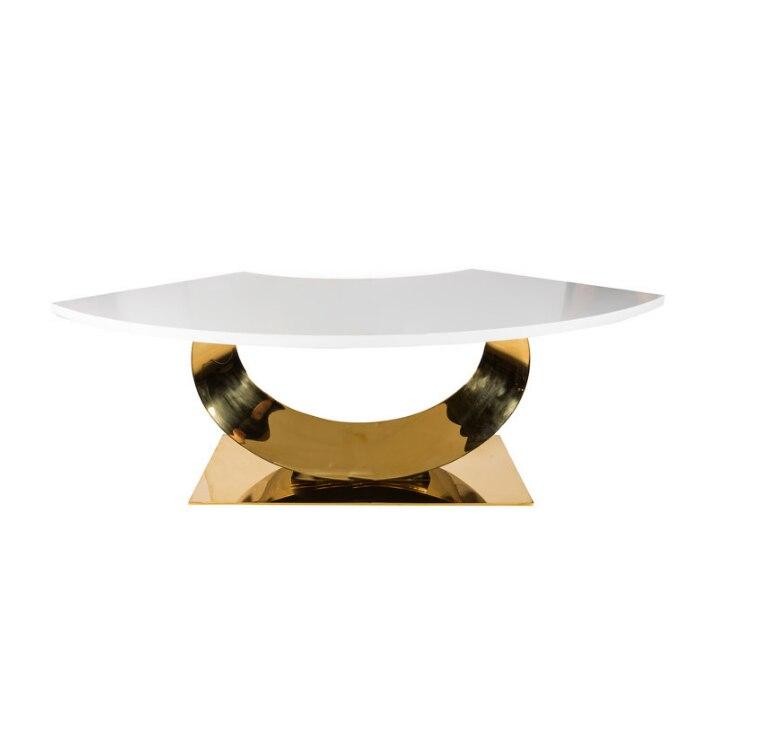 تصميم جديد نصف القمر الذهب الفولاذ المقاوم للصدأ قرص من الرخام للمنضدة طاولة طعام
