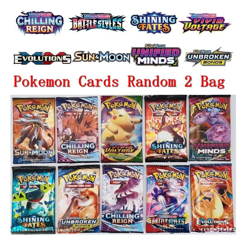 Cartes Pokemon Anime épée et cartes anglaises sans répétition, 18 pièces/2 sachets, Carte de combat, de commerce, Pikachu, jouet pour enfants