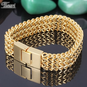 Tiasri 18mm wide Gold Color 316L Stainless Steel Solid Figaro Chain Bracelet Men's Fashion Jewelry Three-ply Braiding Process