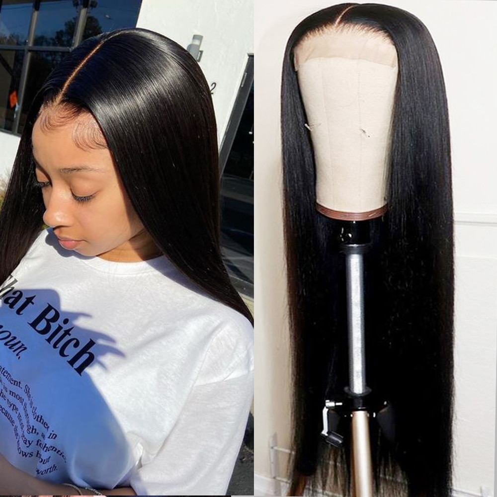 Transparent Lace Wigs For Black Women Cheap Human Hair Wigs Peruvian Hair Bone Straight 4x4 5x5 13x4