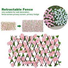 Clôture de jardin décoration intimité bois avec feuilles de fleurs artificielles Extension rétractable clôture pour la décoration de la maison de la cour