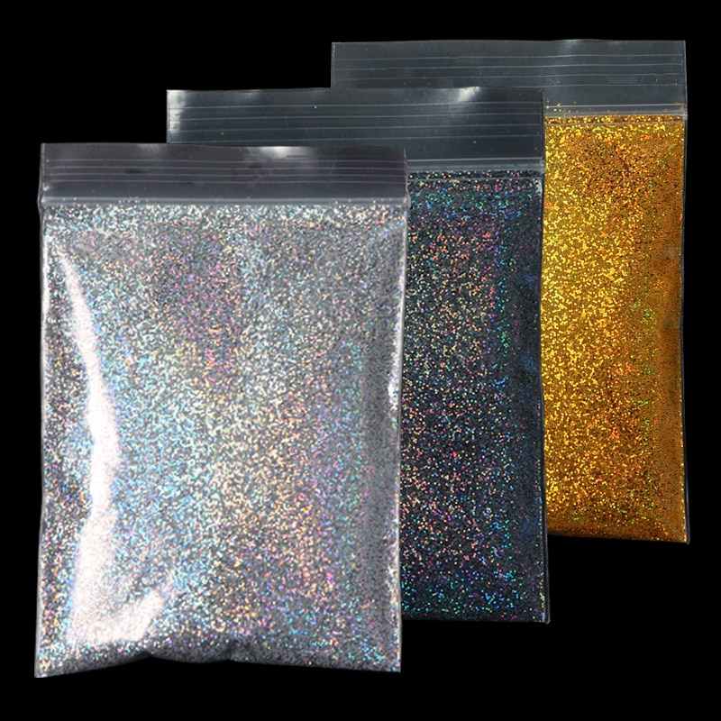 10g Holographic Nail Powder Laser Nail Glitter Dust DIY Manicure For Gel Polish Chrome Pigment Powder Nail Art Decoration Set 0 2mm holographic glitter powder shining sugar nail glitter dust chrome powder nail art decorations 26 colors 10g pack