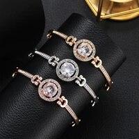 shiny crystal rhinestone bracelet link full rhinestone round cz charm bracelet bangle adjustable fashion jewelry for women