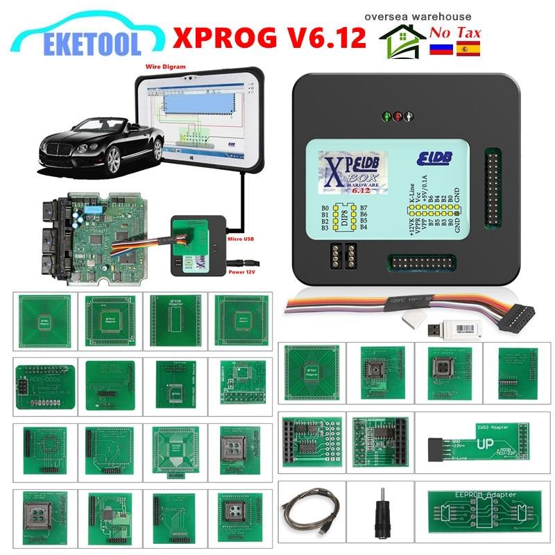 XPROG-M V6.12 V5.86 V5.55 V5.84 Full Adapter Auto ECU Chip Tuning Programming Xprog M 5.55 Metal Box AUTH-0025 Authorized X-PROG