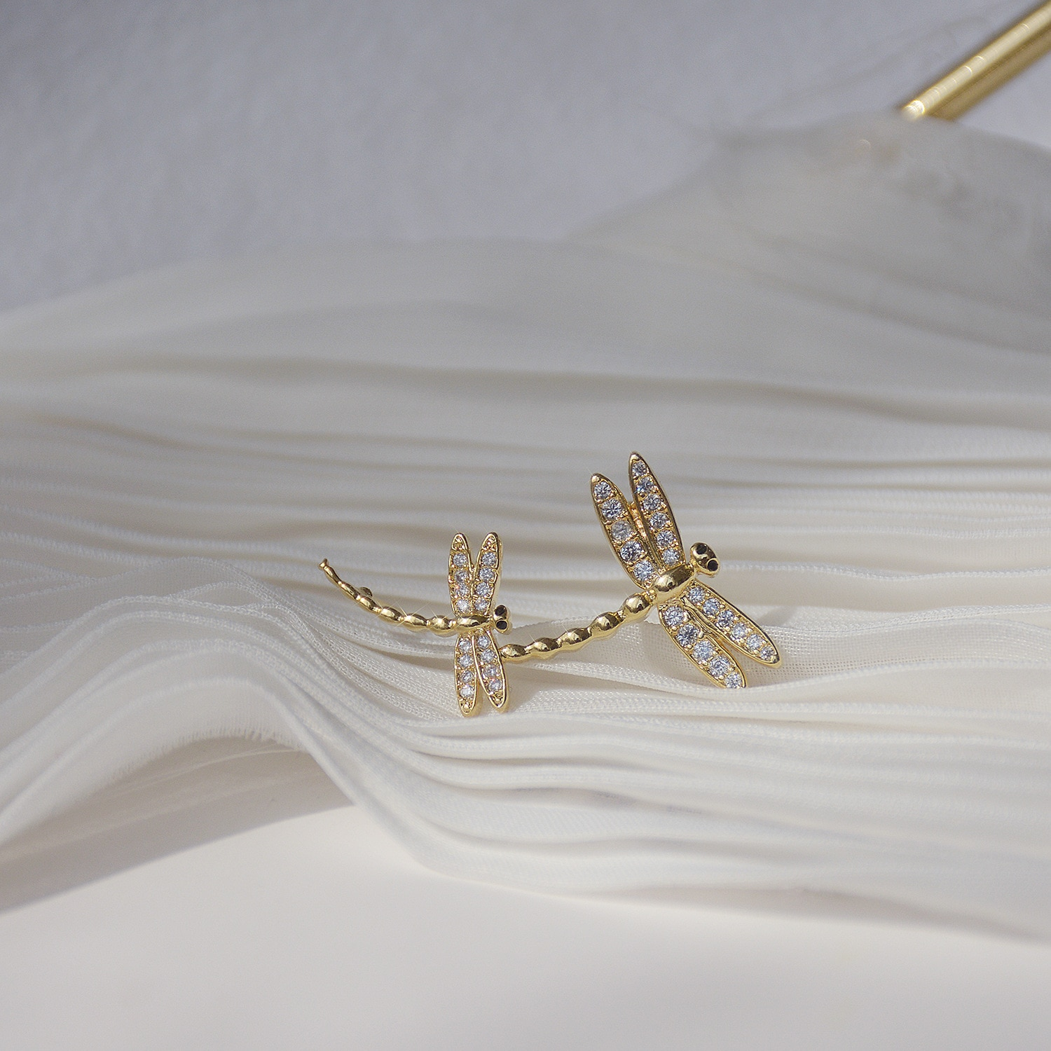 14K Real Gold Dragonfly Micro-inlaid Zircon Stud Earrings for Women Cubic Zircon ZC Earrings Date Jewelry  - buy with discount