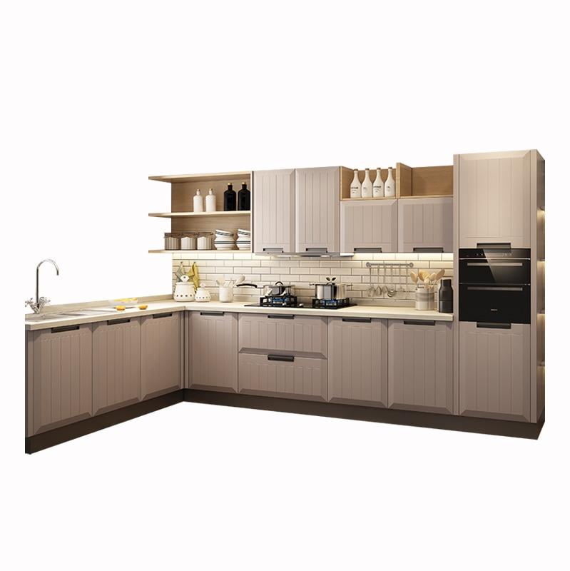 خزانة متكاملة مخصصة خزانة مطبخ خزانة بسيطة الأوروبي الكوارتز حجر كونترتوب خزانة المطبخ المنزلية