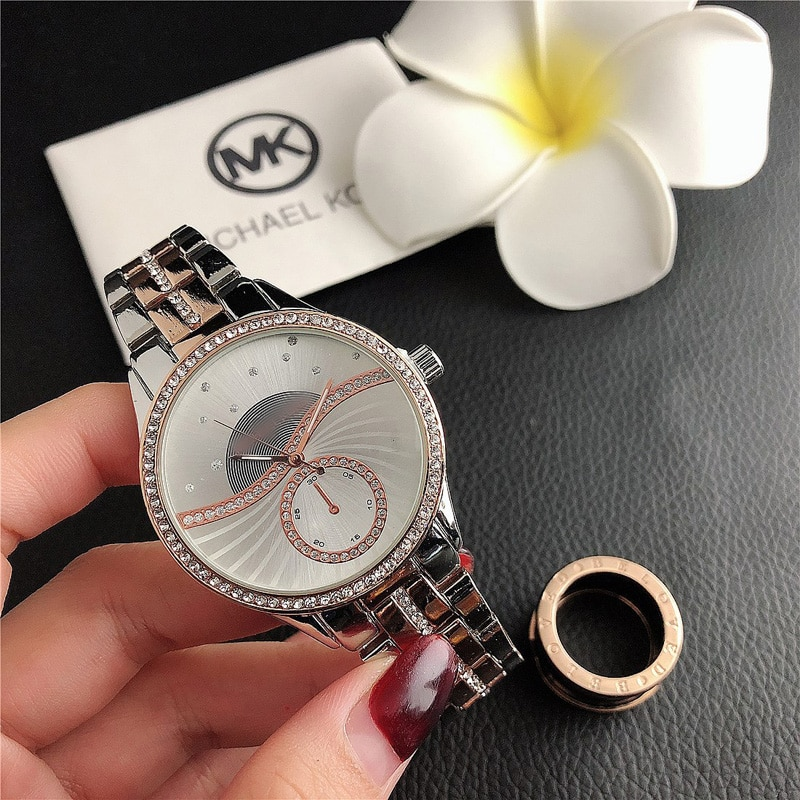 YUNAO Jewelry Crystal Diamond Wrist Watches Men's and Women's Sports Fashion Trend Watches Steel Band Waterproof Watches enlarge
