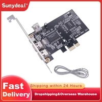 expansion card pcie 3 ports 1394a firewire pci express to ieee 1394 adapter controller with 6 pin and 4 pin ieee 1394 cable