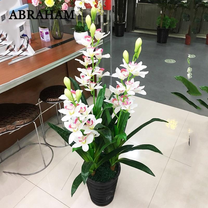 100cm 3 Poles Fake Cymbidium Artificial Tree Tropical Plants Plastic Palm Leaves Silk Flower Heads For Home Office Wedding Decor