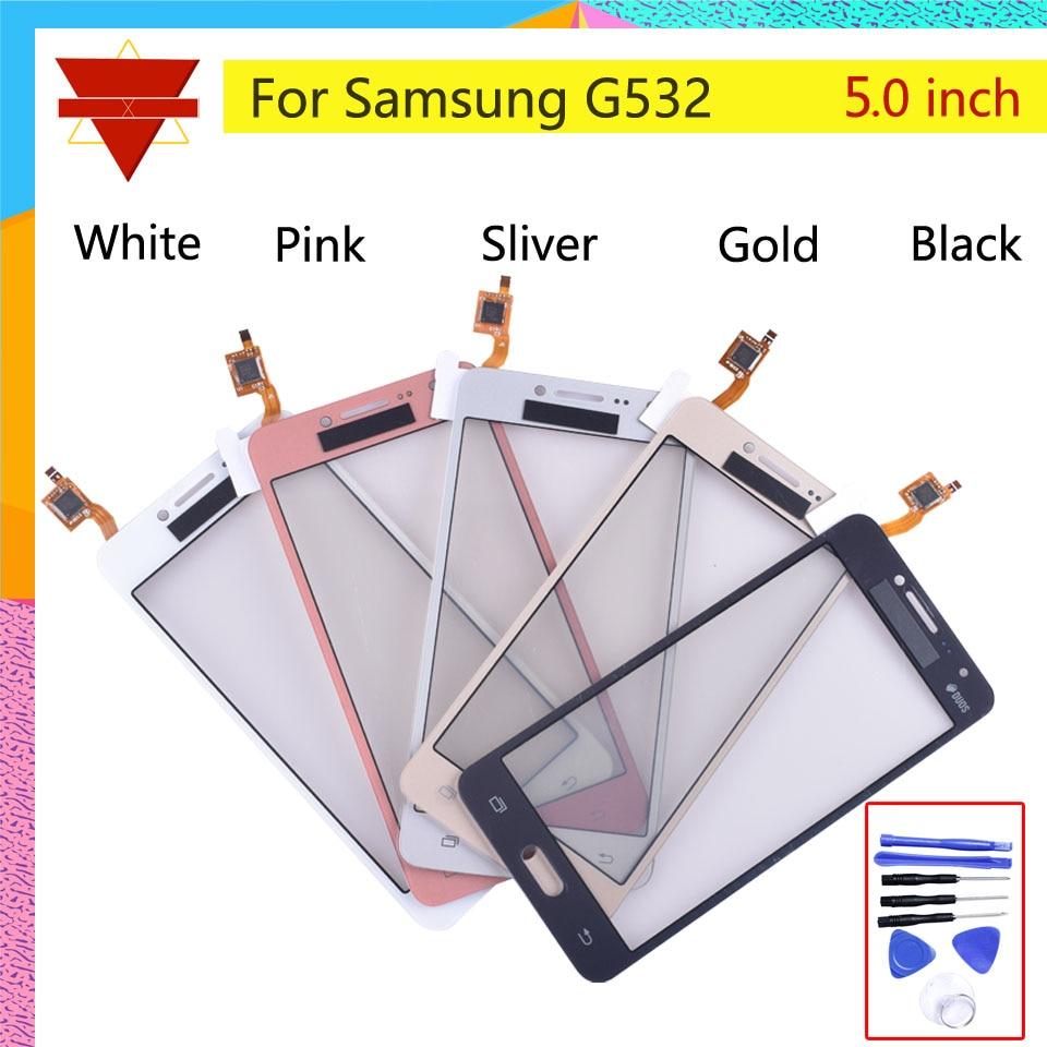 """5,0 """"para Samsung Galaxy J2 Prime Duos SM-G532 G532 Digitalizador de pantalla táctil Panel de sensor de lente de vidrio frontal con cable flexible"""