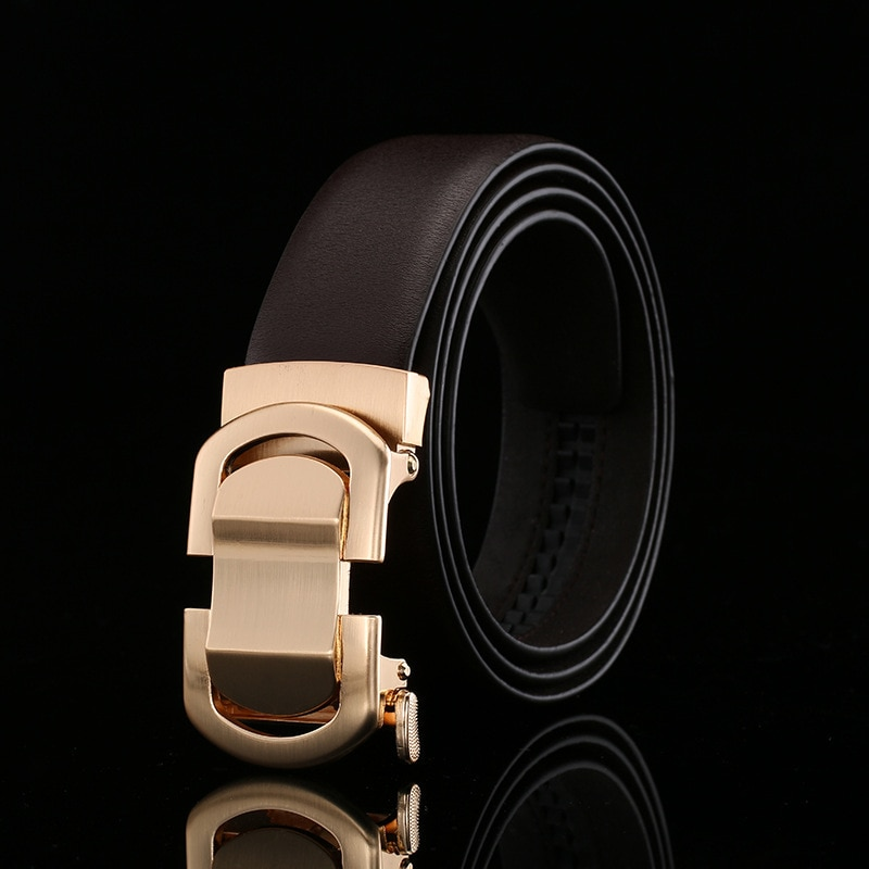 Peikong brand leather genuine men male for black fashion alloy mens belts luxury automatic buckle business men's waist g belt