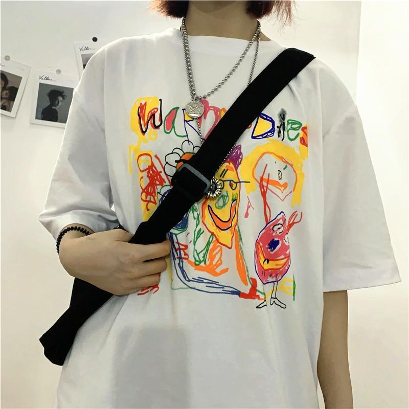 Fashion Women Men T-Shirts Graffiti Print Punk Clothing Graphic Plus Size Top Female Short Sleeve Creative Home Clothes Couples