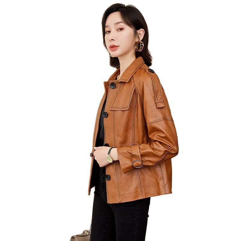 women real sheepskin suit jacket genuine leather coat women sheepskin locomotive jacket brown leather jacket Single Breasted