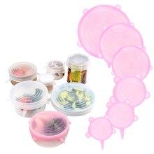 6 uds. Tapas elásticas de silicona para mantener el sello fresco, tapas reutilizables para alimentos, tapas para ollas, tapas para ollas, accesorios de cocina