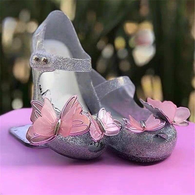 Mini zapatos de Melissa nuevos originales sandalias de gelatina para niñas mariposa niños zapatos de playa antideslizantes para niños pequeños zapatos color caramelo SH19110