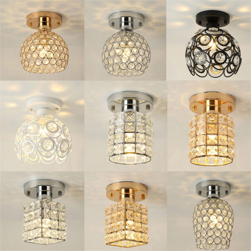Led Ceiling Lights Crystal Lampshade Gold/Silver Plafonnier Living Room Bedroom Modern Round Square Decorative Ceiling Lamp E27  - buy with discount