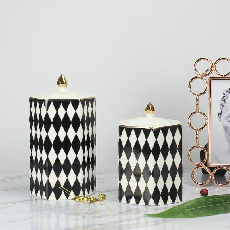 Tanque de armazenamento preto e branco diamante xadrez cerâmica decorativa jar decoração para casa