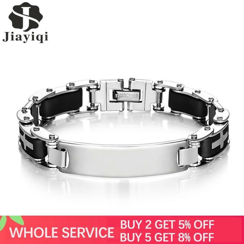 Jiayiqi cruzada de moda de silicona brazaletes pulseras de acero inoxidable para hombres moda hombres de pulsera genial accesorios de la joyería