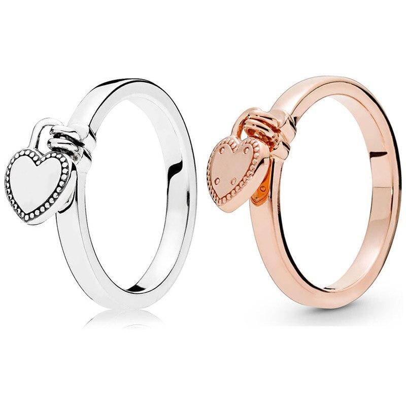 Nuevo anillo de Plata de Ley 925 anillos de corazón de cerradura de amor rosa para mujeres regalo de fiesta de boda joyería fina Europa