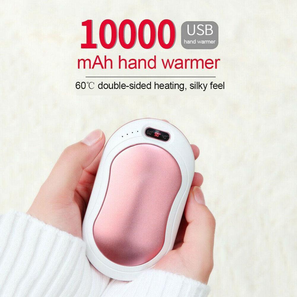 10000mAh Hand Warmer USB Power Bank Portable Electric Pocket Hand Warmer Digital Display Flashlight