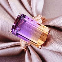 14k rose gold color gemstones rings for women citrine amethyst crystal zircon diamonds luxury cocktail party bague jewelry gift
