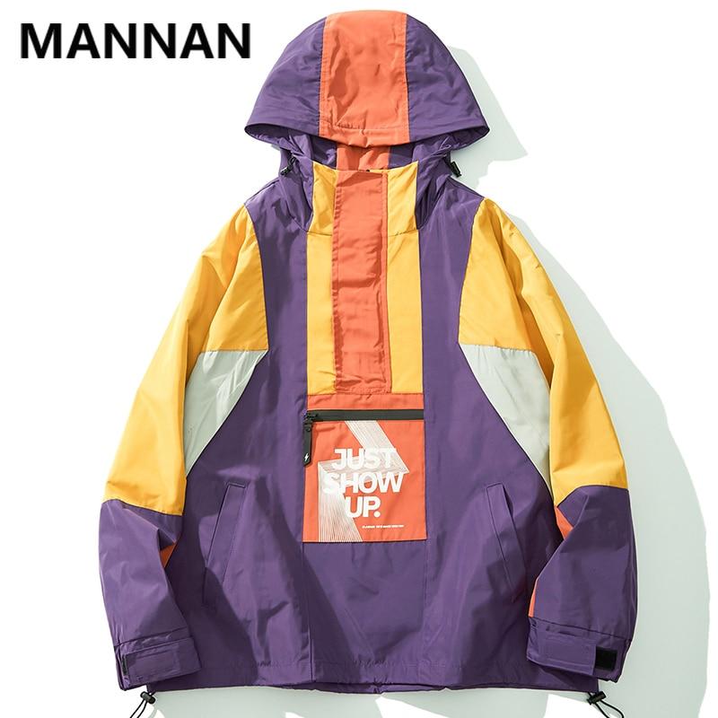 Mannan frente zíper bolso cor bloco pulôver metade zip blusão com capuz jaquetas 2019 dos homens hip hop streetwear outwear casacos