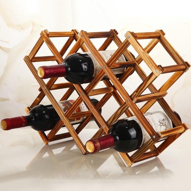 Portabotellas de vino de madera de calidad, práctico y creativo armario decorativo plegable para sala de estar, indicador de estante Almacenamiento de vino tinto
