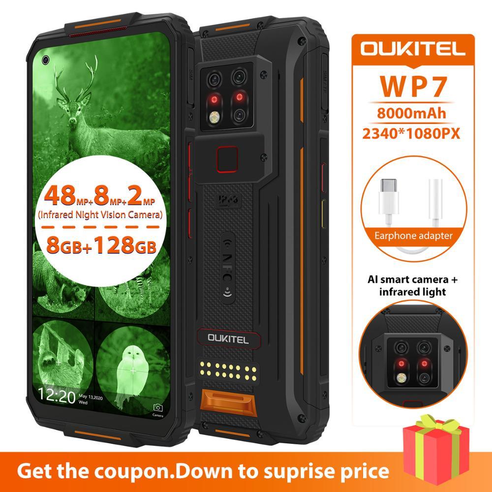Перейти на Алиэкспресс и купить OUKITEL WP7 6,53 дюймов Android 9,0 прочный мобильный телефон IP68 Водонепроницаемый MTK6779 восьмиядерный смартфон 8 Гб 128 ГБ Global Dual 4G LTE