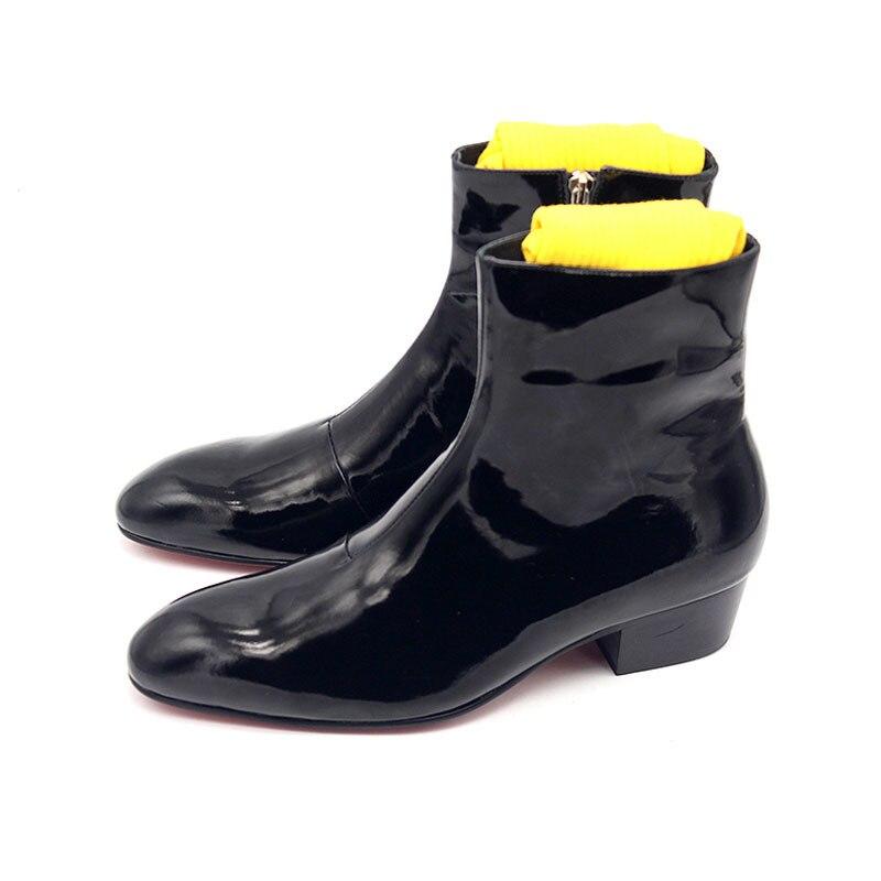 أحذية راكب الدراجة النارية ذات الكعب العالي للرجال ، أحذية إيطالية مصنوعة يدويًا بمقدمة مدببة ، جلد طبيعي ، نمط بانك ، سحاب ، شتوي