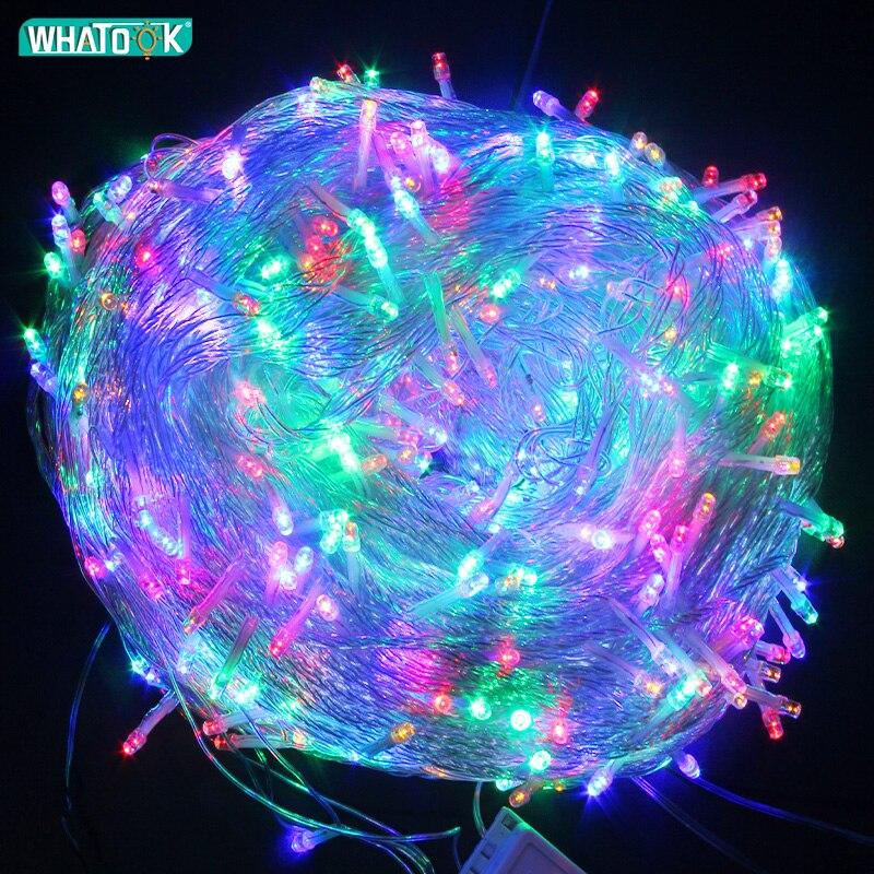 شريط إضاءة جارلاند من الضوء LED ، 10 م 20 م 50 م 100 م ، لحفلات الزفاف ، الكريسماس ، الديكور الداخلي والخارجي ، قضبان الستائر للحفلات المنزلية