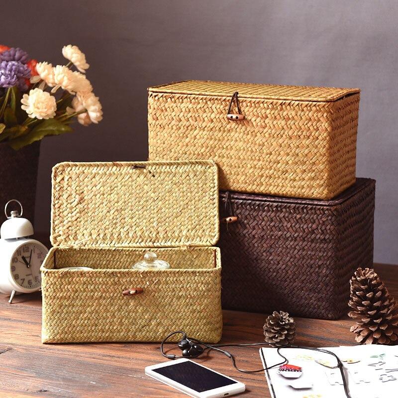 AliExpress - Seagrass Woven Sundries Storage Box With Lid Woven Storage Box Storage Box Hand-woven Desktop Multi-functional Storage Basket