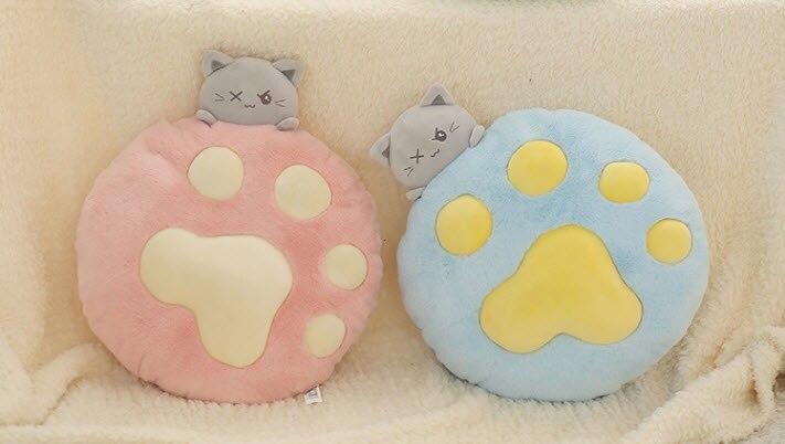 Милая мягкая подушка в виде кошки, милая кошачья лапа, подушка, подарок на день рождения, мягкие плюшевые игрушки, милая детская подушка, под...