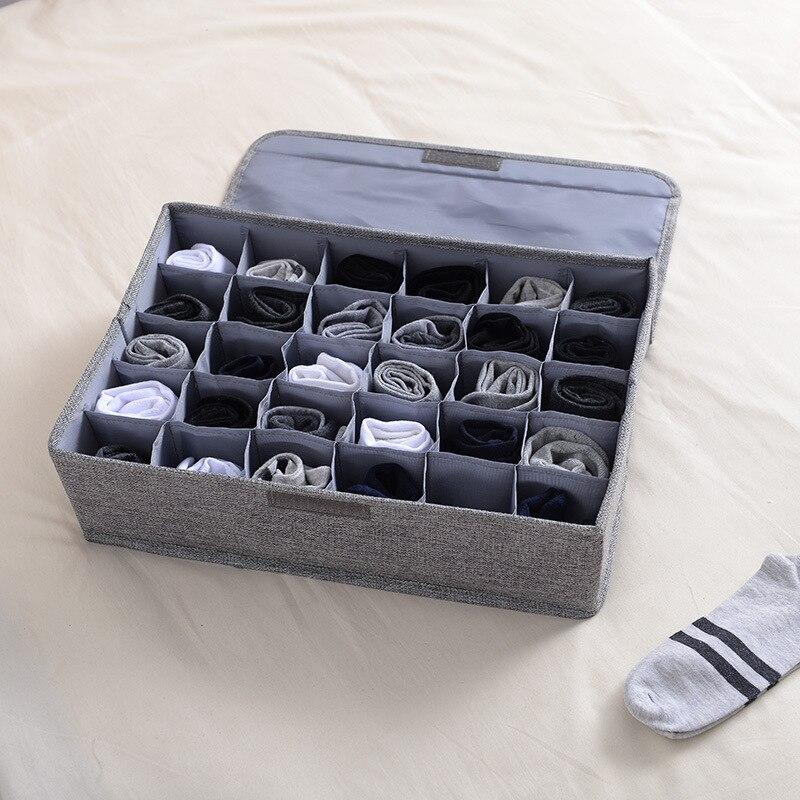 الجوارب الملابس الداخلية تخزين مربع قابل للغسل الغبار واقية الملابس فرز جيب مع غطاء درج القطن الكتان تخزين حقيبة منظم