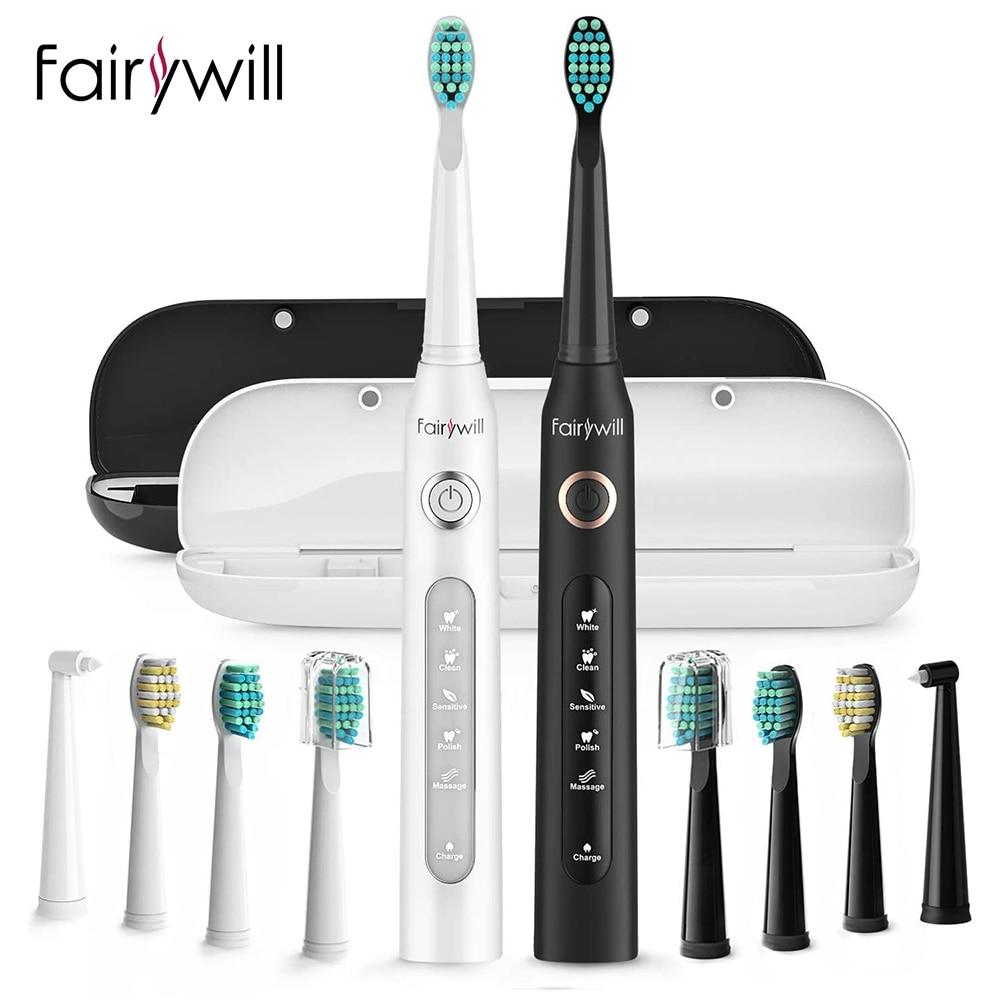 Fairywill FW-507 سونيك فرشاة الأسنان الكهربائية 5 وسائط USB شاحن الأسنان فرش استبدال الموقت سونيك فرشاة الأسنان 10 فرشاة رؤساء
