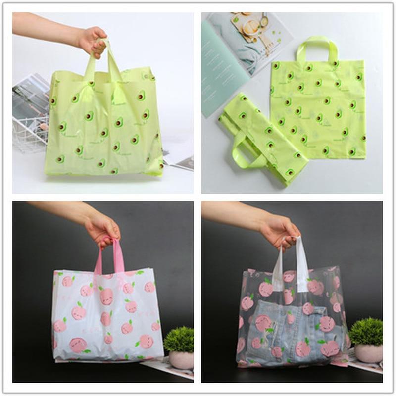 50pcs plus épais grand sac en plastique vert avocat avec poignées magasin de vêtements sac à provisions cadeau de mariage bijoux sac demballage