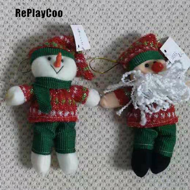 25PCS / LOT Kawaii Christmas Snowman OR OldMan Plush Toys Filled Animals Soft Decoration Filled Plush Pendant Wedding Gift DSD07