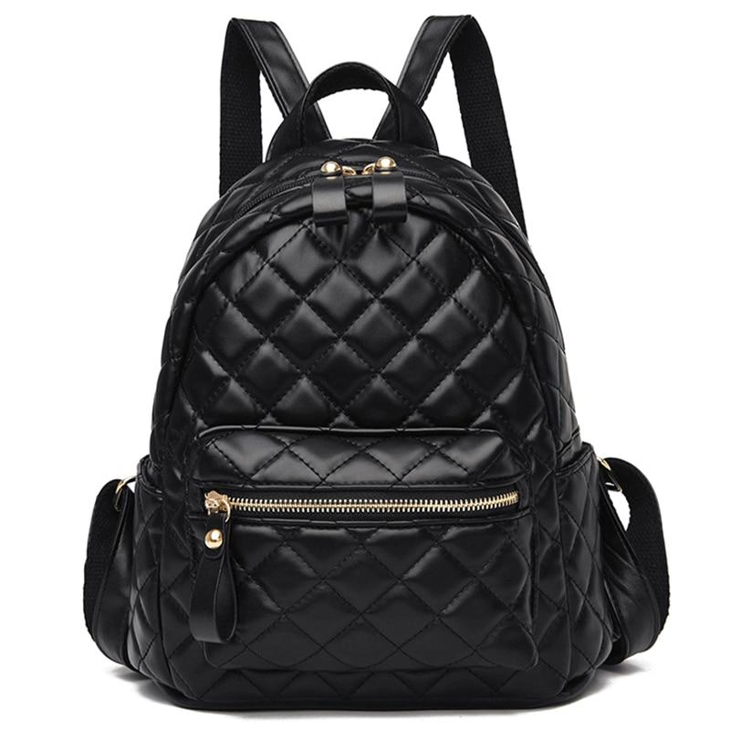 Брендовые винтажные женские кожаные рюкзаки Sac A Dos, элегантный школьный рюкзак для девочек, ромбовидная решетка, Женский дорожный рюкзак, од...