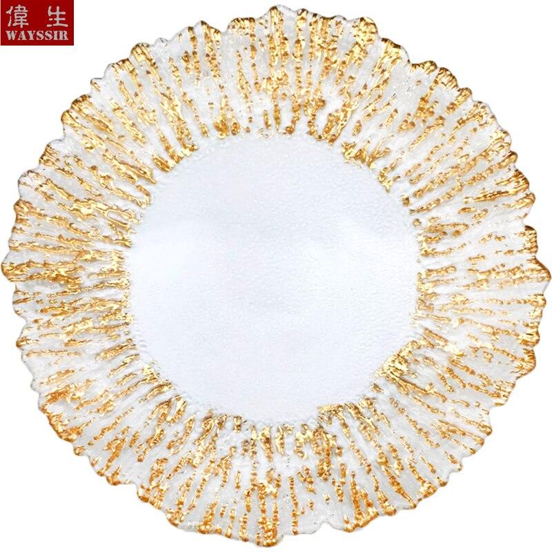 13 pulgadas en forma de flor de oro calcomanía plateada borde transparente cristal cargador placa decoración para fiesta de boda vajilla bandeja mostrar placa