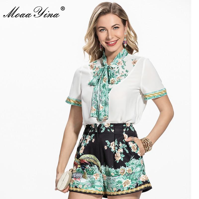 MoaaYina, модный дизайнерский летний повседневный комплект из двух предметов с шортами, женская Свободная блузка с короткими рукавами и галсту...
