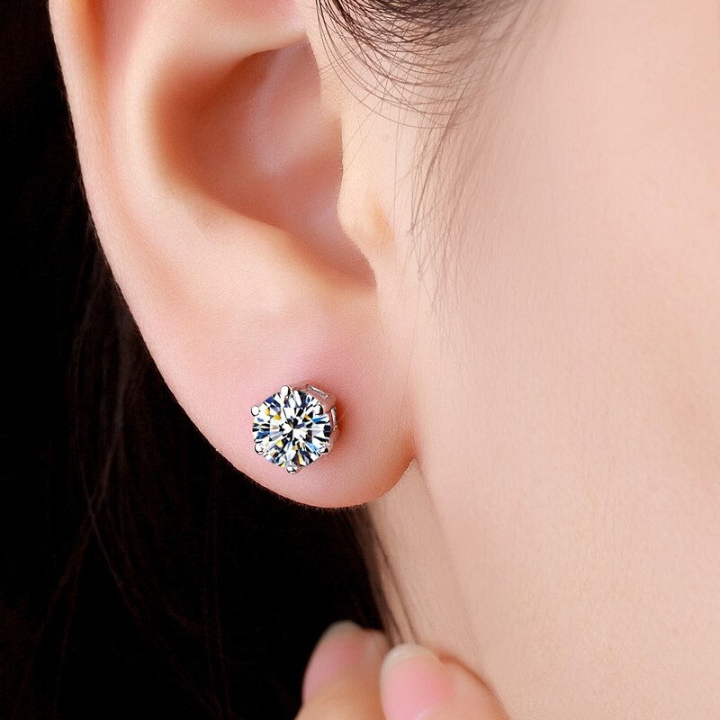 ZHHIRY Real Moissanite 18k White Gold Stud Earring For Women Total 2.4ct Each 1.2ct 7*7mm Round Cut D VVS Fine Jewelry