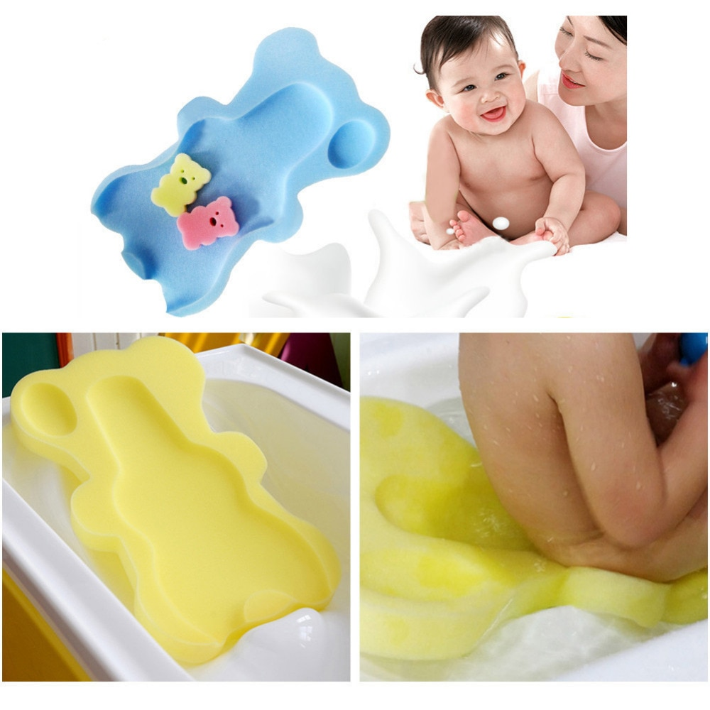 Baby Bath Seat Infant Non Slip Soft Bath Foam Pad Mat Body Cushion Sponge Bathtub Mat Safety Bathtub