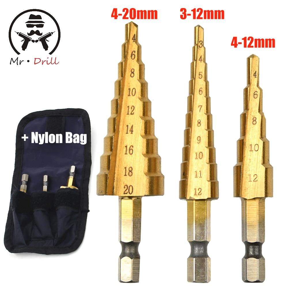 3-12mm 4-12mm 4-20mm embalagem Do Saco de Nylon Ferramentas De Poder Preço de Atacado 3 pçs/set Passo HSS Brocas de Perfuração de metal