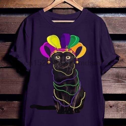 Gato negro en Mardi Gras camiseta púrpura algodón hombres S-6XL hecho en Estados Unidos