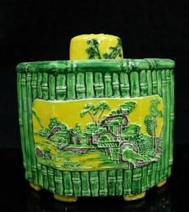 China ceramic landscape pattern tea leaf tank crafts statue