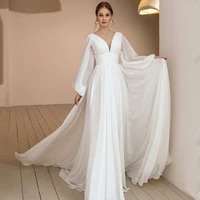 new puff sleeves chiffon boho wedding dress 2021 v neck ruched drapped simple sweep train vestido noiva bridal gowns
